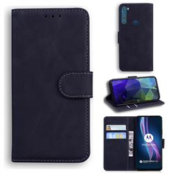 Retro Classic Skin Feel Leather Wallet Phone Case for Motorola Moto One Fusion Plus - Black