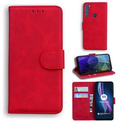 Retro Classic Skin Feel Leather Wallet Phone Case for Motorola Moto One Fusion Plus - Red
