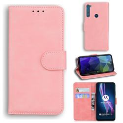 Retro Classic Skin Feel Leather Wallet Phone Case for Motorola Moto One Fusion Plus - Pink