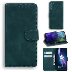 Retro Classic Skin Feel Leather Wallet Phone Case for Motorola Moto One Fusion Plus - Green