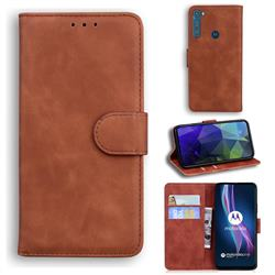 Retro Classic Skin Feel Leather Wallet Phone Case for Motorola Moto One Fusion Plus - Brown