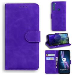 Retro Classic Skin Feel Leather Wallet Phone Case for Motorola Moto One Fusion Plus - Purple