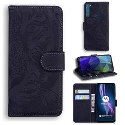 Intricate Embossing Tiger Face Leather Wallet Case for Motorola Moto One Fusion Plus - Black