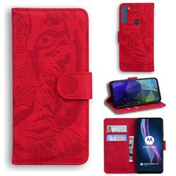 Intricate Embossing Tiger Face Leather Wallet Case for Motorola Moto One Fusion Plus - Red