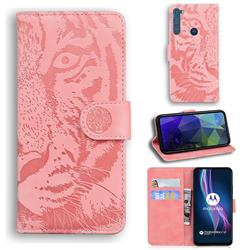 Intricate Embossing Tiger Face Leather Wallet Case for Motorola Moto One Fusion Plus - Pink