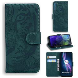 Intricate Embossing Tiger Face Leather Wallet Case for Motorola Moto One Fusion Plus - Green