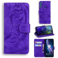 Intricate Embossing Tiger Face Leather Wallet Case for Motorola Moto One Fusion Plus - Purple