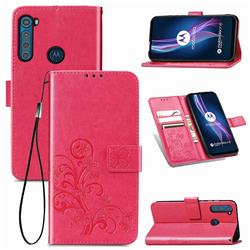 Embossing Imprint Four-Leaf Clover Leather Wallet Case for Motorola Moto One Fusion Plus - Rose Red