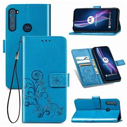 Embossing Imprint Four-Leaf Clover Leather Wallet Case for Motorola Moto One Fusion Plus - Blue