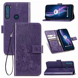 Embossing Imprint Four-Leaf Clover Leather Wallet Case for Motorola Moto One Fusion Plus - Purple