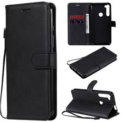 Retro Greek Classic Smooth PU Leather Wallet Phone Case for Motorola Moto One Fusion Plus - Black