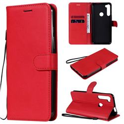 Retro Greek Classic Smooth PU Leather Wallet Phone Case for Motorola Moto One Fusion Plus - Red