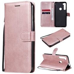 Retro Greek Classic Smooth PU Leather Wallet Phone Case for Motorola Moto One Fusion Plus - Rose Gold