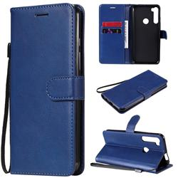 Retro Greek Classic Smooth PU Leather Wallet Phone Case for Motorola Moto One Fusion Plus - Blue