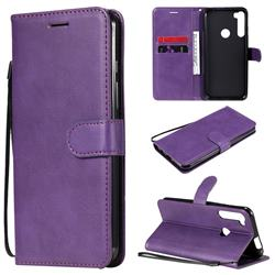 Retro Greek Classic Smooth PU Leather Wallet Phone Case for Motorola Moto One Fusion Plus - Purple