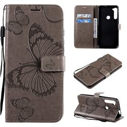 Embossing 3D Butterfly Leather Wallet Case for Motorola Moto One Fusion Plus - Gray