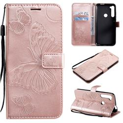 Embossing 3D Butterfly Leather Wallet Case for Motorola Moto One Fusion Plus - Rose Gold