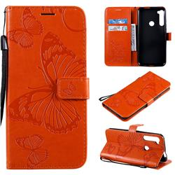 Embossing 3D Butterfly Leather Wallet Case for Motorola Moto One Fusion Plus - Orange