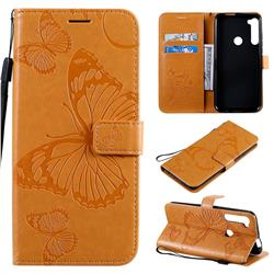 Embossing 3D Butterfly Leather Wallet Case for Motorola Moto One Fusion Plus - Yellow