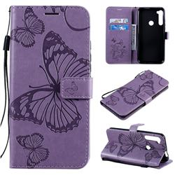 Embossing 3D Butterfly Leather Wallet Case for Motorola Moto One Fusion Plus - Purple