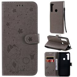 Embossing Bee and Cat Leather Wallet Case for Motorola Moto One Fusion Plus - Gray