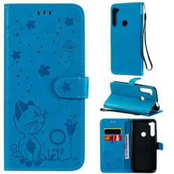 Embossing Bee and Cat Leather Wallet Case for Motorola Moto One Fusion Plus - Blue