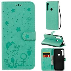 Embossing Bee and Cat Leather Wallet Case for Motorola Moto One Fusion Plus - Green
