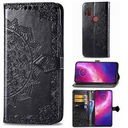 Embossing Imprint Mandala Flower Leather Wallet Case for Motorola One Hyper - Black