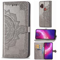 Embossing Imprint Mandala Flower Leather Wallet Case for Motorola One Hyper - Gray