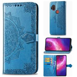 Embossing Imprint Mandala Flower Leather Wallet Case for Motorola One Hyper - Blue