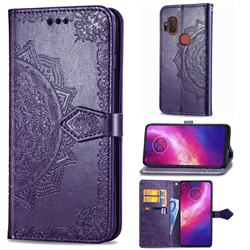 Embossing Imprint Mandala Flower Leather Wallet Case for Motorola One Hyper - Purple
