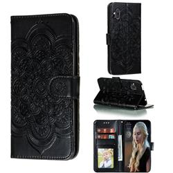 Intricate Embossing Datura Solar Leather Wallet Case for Motorola One Hyper - Black