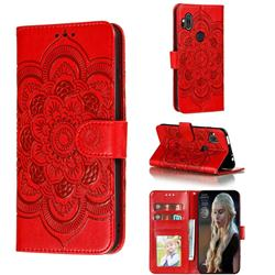 Intricate Embossing Datura Solar Leather Wallet Case for Motorola One Hyper - Red