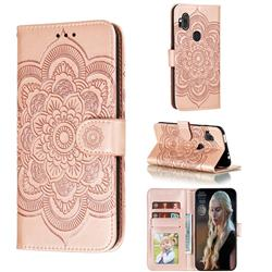 Intricate Embossing Datura Solar Leather Wallet Case for Motorola One Hyper - Rose Gold