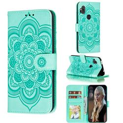 Intricate Embossing Datura Solar Leather Wallet Case for Motorola One Hyper - Green