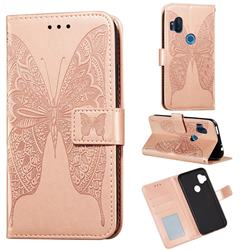 Intricate Embossing Vivid Butterfly Leather Wallet Case for Motorola One Hyper - Rose Gold