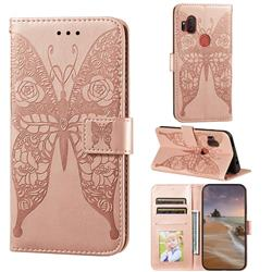 Intricate Embossing Rose Flower Butterfly Leather Wallet Case for Motorola One Hyper - Rose Gold