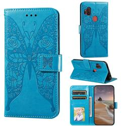 Intricate Embossing Rose Flower Butterfly Leather Wallet Case for Motorola One Hyper - Blue