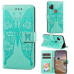 Intricate Embossing Rose Flower Butterfly Leather Wallet Case for Motorola One Hyper - Green
