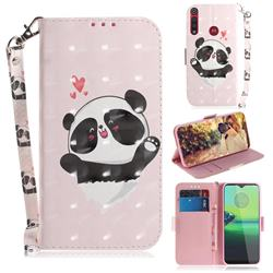 Heart Cat 3D Painted Leather Wallet Phone Case for Motorola One Macro