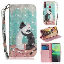 Black and White Cat 3D Painted Leather Wallet Phone Case for Motorola One Macro