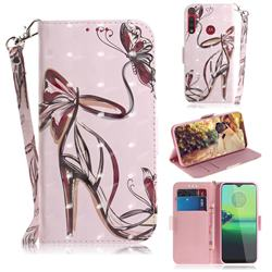 Butterfly High Heels 3D Painted Leather Wallet Phone Case for Motorola One Macro