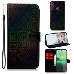 Laser Circle Shining Leather Wallet Phone Case for Motorola One Macro - Black
