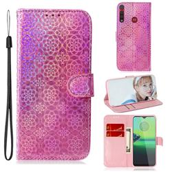 Laser Circle Shining Leather Wallet Phone Case for Motorola One Macro - Pink