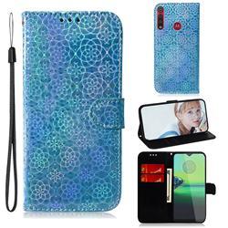 Laser Circle Shining Leather Wallet Phone Case for Motorola One Macro - Blue