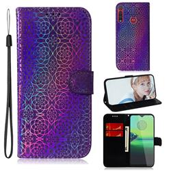 Laser Circle Shining Leather Wallet Phone Case for Motorola One Macro - Purple