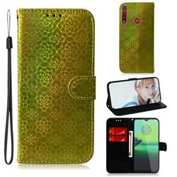 Laser Circle Shining Leather Wallet Phone Case for Motorola One Macro - Golden
