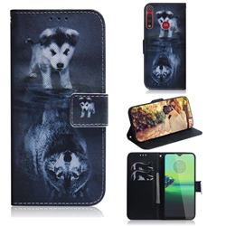 Wolf and Dog PU Leather Wallet Case for Motorola One Macro
