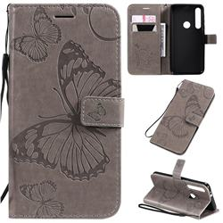 Embossing 3D Butterfly Leather Wallet Case for Motorola One Macro - Gray