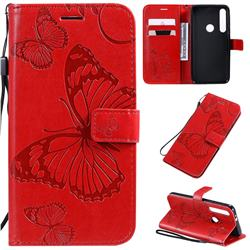 Embossing 3D Butterfly Leather Wallet Case for Motorola One Macro - Red